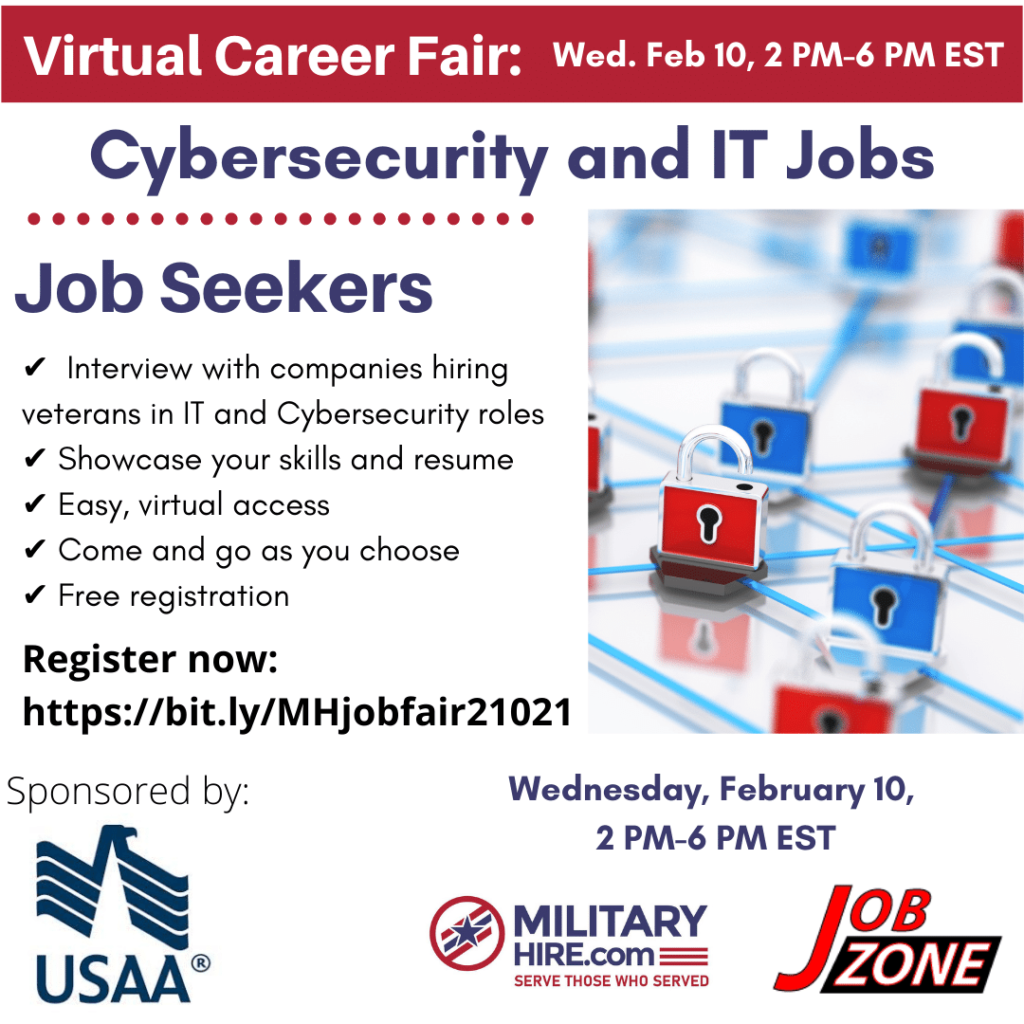 Job Fair for Cybersecurity and IT Roles. Free for Veterans
