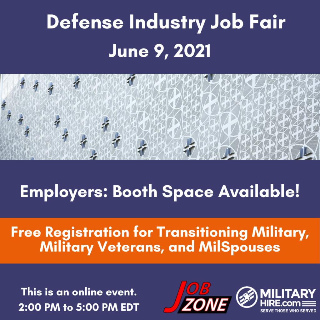 Military Hire Defense Industry Job Fair June 9, 2021